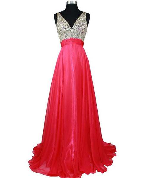 V-neck beaded floor length party evening dress I1004
