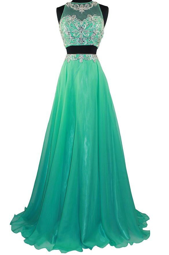 Two pieces beaded floor length party evening dress