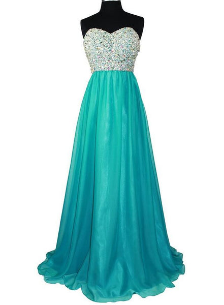 Sweetheart Strapless Chiffon Long Prom Evening Dress With Beadings L016