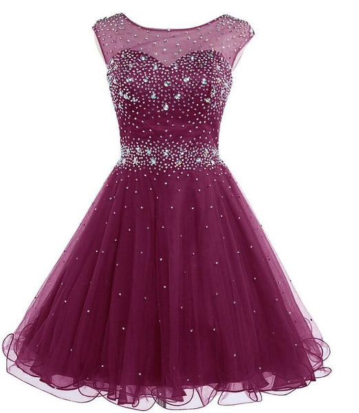 Short Prom Dress ,Beaded homecoming dress P032