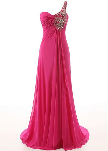 One shoulder Chiffon Floor length Prom Party Dress P034