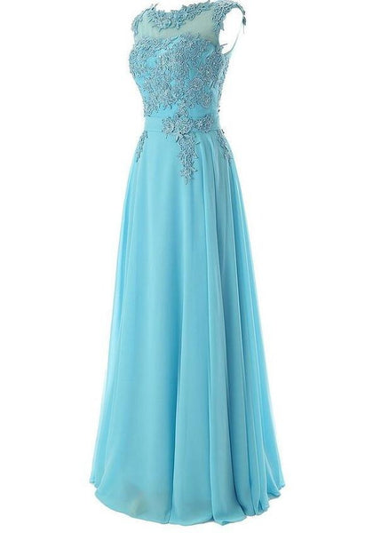 Chiffon Floor Length Prom Evening Dress With Appliques P036
