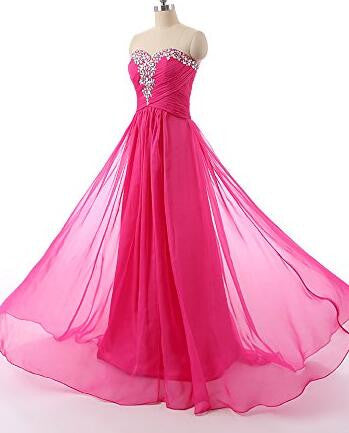 Strapless chiffon Floor Length Prom Party dress P044
