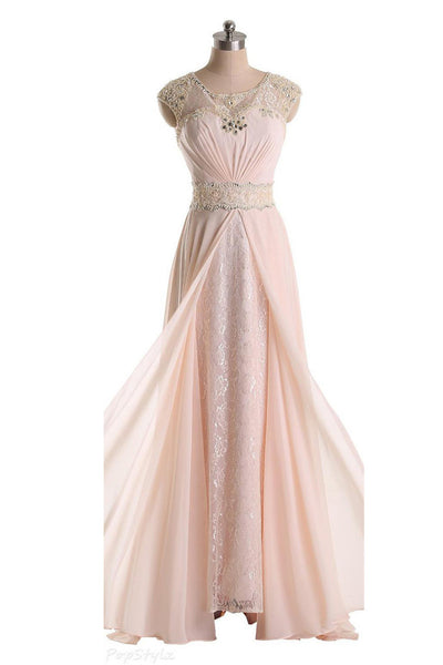 Long chiffon beaded prom evening dress with cap sleeves P048
