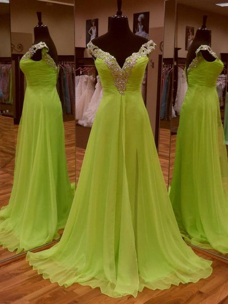 Chiffon Beaded Floor Length  Prom Dress  I073