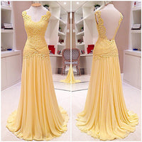 Chiffon and Lace Floor Length  Prom Dress  I076