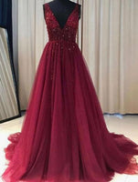 Burgundy Prom Dress A Line Simple Modest V-neck Long Prom Dress LP026