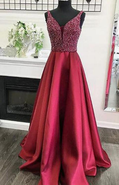 Burgundy satin long V neck sequins prom dress, long party dresses Long Prom Dress LP027