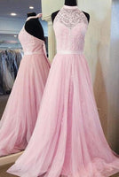 Halter Neck A-line Floor-Length Prom Dress with Beading,Long Formal Dress Dance Dress LP055