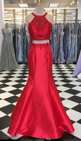 Two Piece Beaded Mermaid Long Prom Dress Semi Formal Dresses Wedding Party Dress LP144