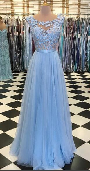 Fashipn A-line Appliqued Long Prom Dress Semi Formal Dresses Wedding Party Dress LP159