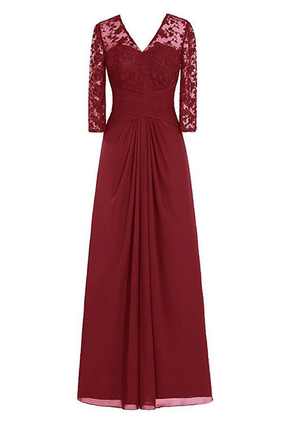 Custom Made Chiffon Lace Floor Length Prom Dresses Long Winter formal Dresses SP1006