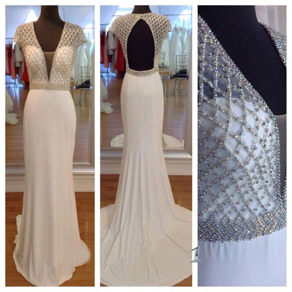 Cap Sleeves Beading Fashion Prom Dresses Long Formal Dress  SP1127