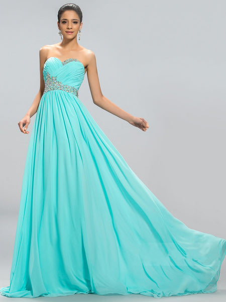 Sweetheart Low Back Sweep Blue Prom Dress I032
