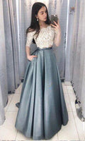 Two Pieces Long Prom Dress Fashion Winter Formal Dress Popular Wedding Party Dress  LP336