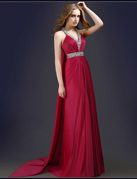 Burgundy V-Neck Beaded Trained Chiffon Formal Dress Long Prom Dres I030