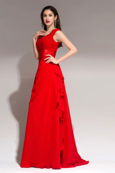V-Neck Ruched Waist Prom Party Dress I040