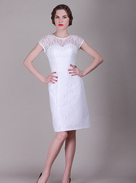 Short Lace wedding dress with short sleeves