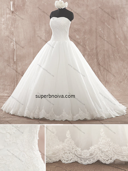 Strapless Real Photo Ball Gown Wedding Dress Bridal Dresses Vestidos de Novia BDS0358