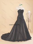 Strapless Black Colored Real Photo Wedding Dress Bridal Dresses With Lace Up Back Vestidos de Novia BDS0361