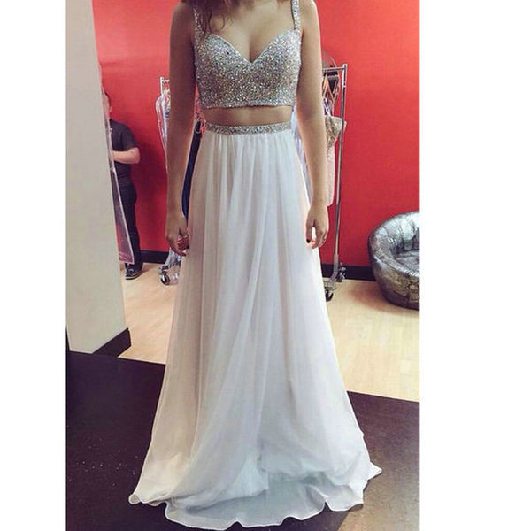 Two Pieces Beaded Long Prom Dress   I164