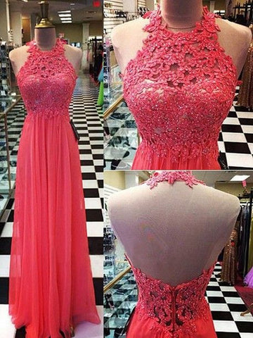Fashion Halter Neck Appliqued Beading Long Prom Dress , Long Winter Formal Dress P018