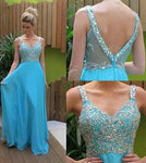 V-back Beaded Floor Length Prom Dress Semi Formal Dresses Wedding Party Dress LP184