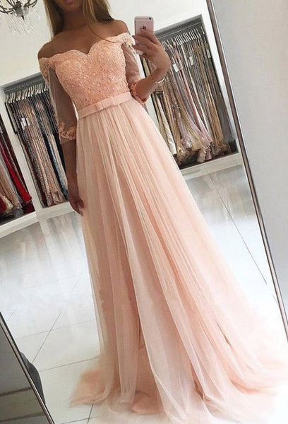 Off the Shoulder A-line Floor Length Prom Dress Semi Formal Dresses Wedding Party Dress LP186