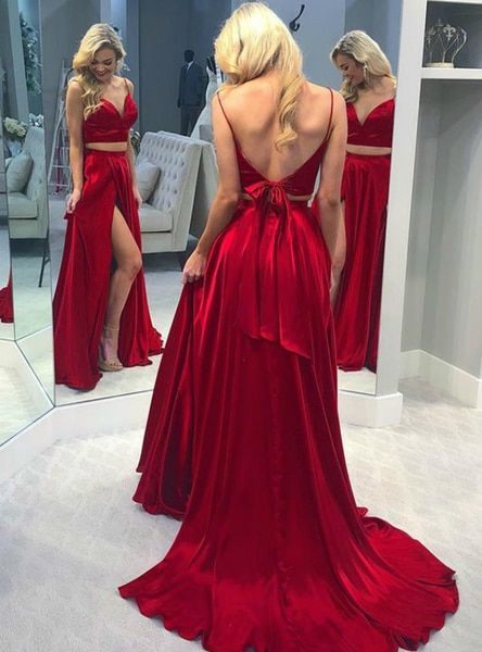 Two Pieces Long Prom Dress Fashion Winter Formal Dress Popular Party Dress LP399