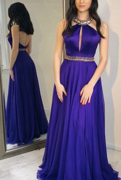 Halter Neck Long Prom Dress with Beading Fashion Winter Formal Dress Popular Wedding Party Dress  LP322