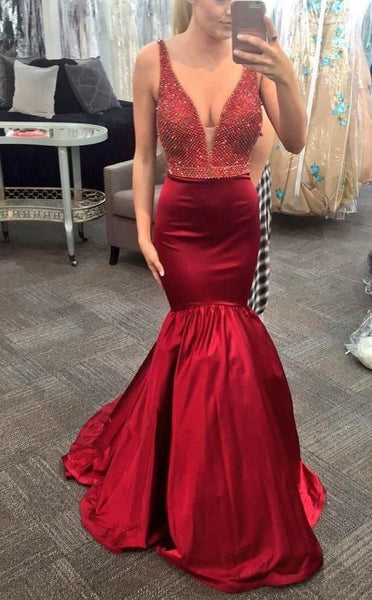 Sexy Mermaid Long Prom Dress with Beading Fashion Winter Formal Dress Popular Wedding Party Dress  LP321
