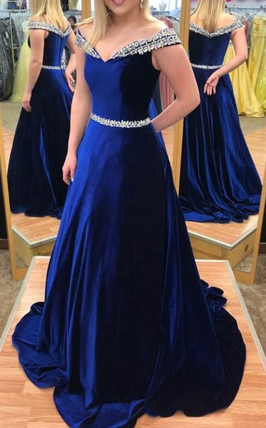 Off the Shoulder A-line Long Prom Dresses Fashion Party Dress  LP275