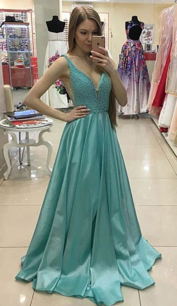 V-neck Beaded Top Floor Length Prom Dress ,Formal Dresses,Wedding Party Dress LP092