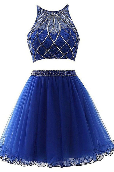 Royal Blue Two Pieces Homecoming Dress, Short Mini Prom Dress with Beading ,Fashion School Dance Dress, Custom Made Sweet 16 Dress SW163