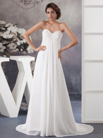 Beaded strapless neckline column style chiffon bridal dress