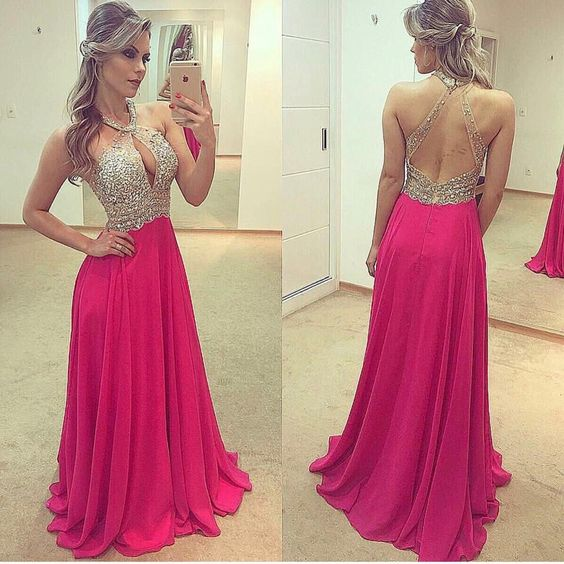 Open Back Beaded Floor Length Prom Dress Semi Formal Dresses Wedding Party Dress LP188