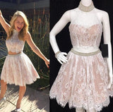 Two Piece Lace Short Homecoming Dress With Beading Graduation Dresses Dance Dress Sweet 16 Dress SW106