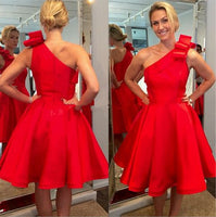 One Shoulder Red Homecoming Dress , Fashion Short 8th Grade Dance Dress, Custom Made Sweet 16 Dress SW158