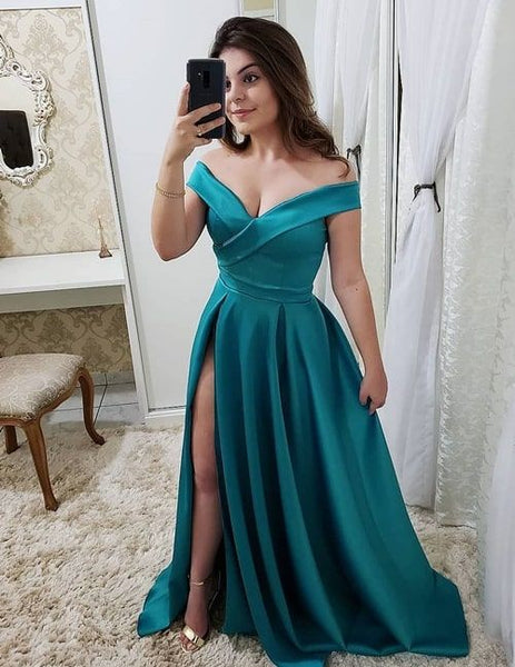 Off the Shoulder A-line Long Prom Dress With Slit Fashion Winter Formal Dress Popular Wedding Party Dress  LP347