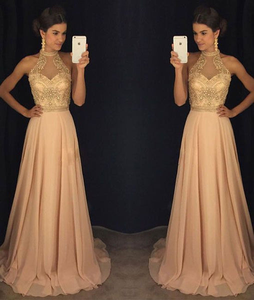 Fashion Halter Neck Beading Long Prom Dress , Long Winter Formal Dress P020