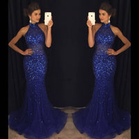 Fashion Mermaid Floor-Length Prom Dress with Full Beading,Long Formal Dress LP070