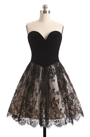 Short Black Lace Homecoming Dress ,Short Prom Party Dress SW068