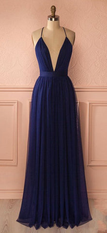 Deep V-neck Simple Sex Long Prom Dress , Long Winter Formal Dress P026