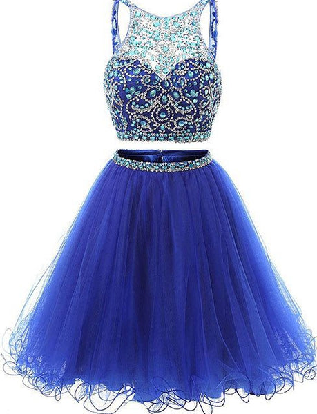 Two Pieces Homecoming Dress, Short Mini Prom Dress with Beading ,Fashion School Dance Dress, Custom Made Sweet 16 Dress SW162