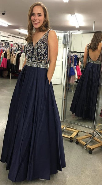 V-neck A-line Long Prom Dress With Beading Fashion Winter Formal Dress Popular Wedding Party Dress  LP348