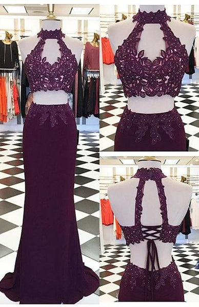 Unique Two Pieces Long Prom Dress with Applique and Beading Fashion Winter Dance Dress  LP285