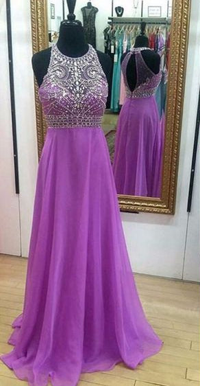 Fashion A-line Floor-Length Prom Dress with Top Beaded,Long Formal Dress Dance Dress LP053