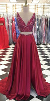 2 Pieces Beaded Long Prom Dress ,2019 Fashion Formal Dresses ,Modest Pageant Dress LP218
