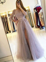 A-line Tulle/Lace Long Prom Dress with Long Sleeves Fashion Party Dress  LP277