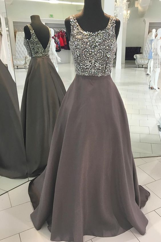 6b034f184b4 Beaded Top A-line Long Prom Dress Semi Formal Dresses Wedding Party Dr –  Promtailor